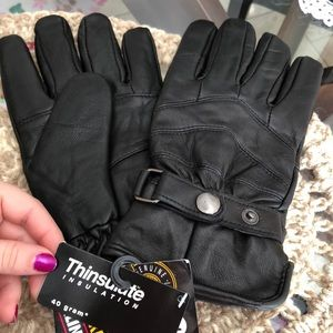 Other - Men's Black Leather Gloves